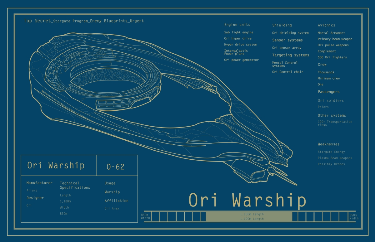 Stargate Memorobilia Posters Blueprint Design Sample